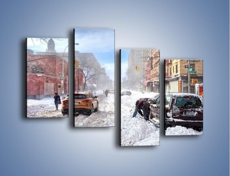 Obraz na płótnie – Zaśnieżone ulice miasta – czteroczęściowy AM342W2