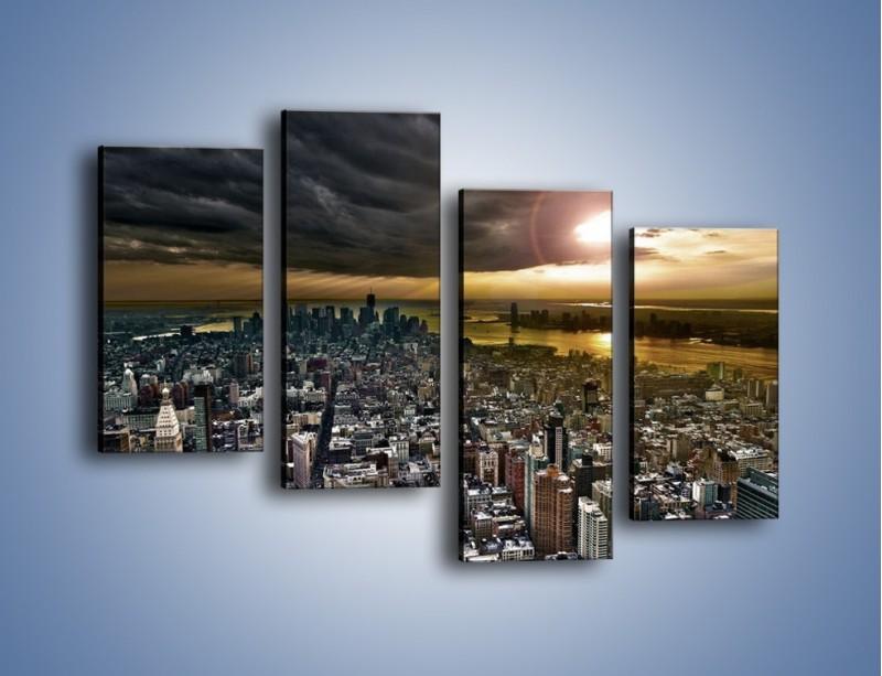 Obraz na płótnie – Czarne chmury nad Nowym Yorkiem – czteroczęściowy AM347W2
