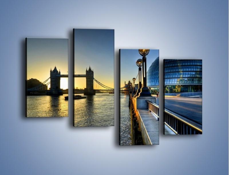 Obraz na płótnie – Londyński Tower Bridge – czteroczęściowy AM348W2