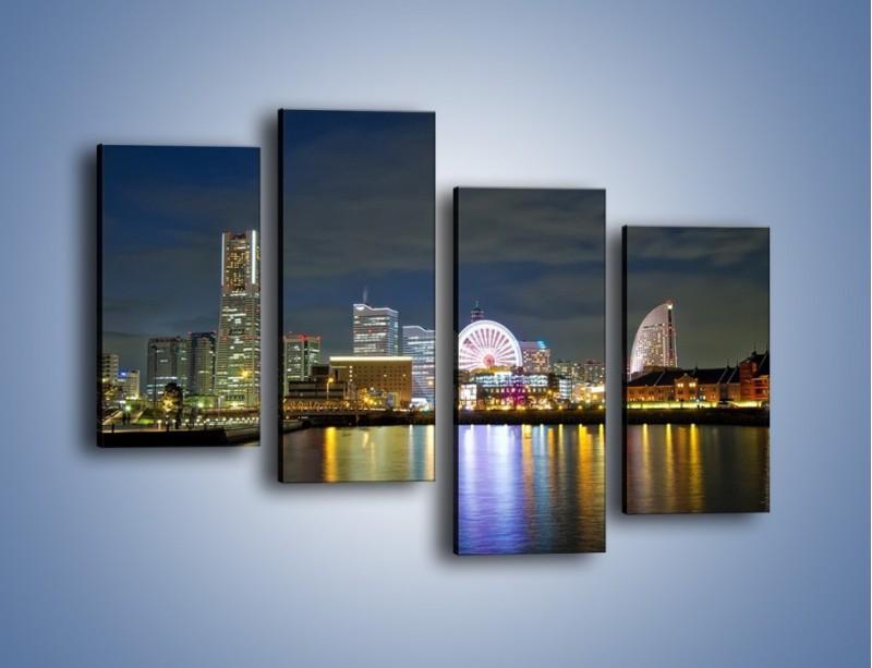 Obraz na płótnie – Yokohama nocą – czteroczęściowy AM353W2