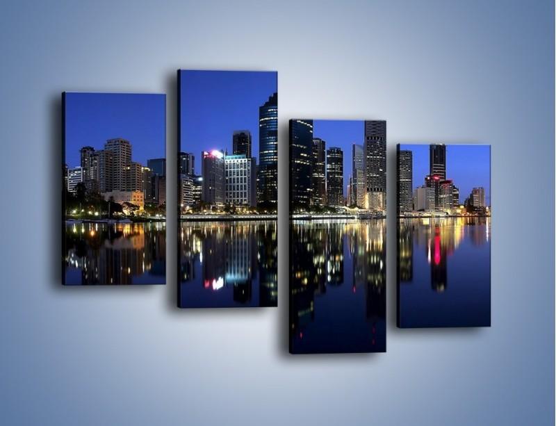 Obraz na płótnie – Brisbane w Australii nocą – czteroczęściowy AM354W2