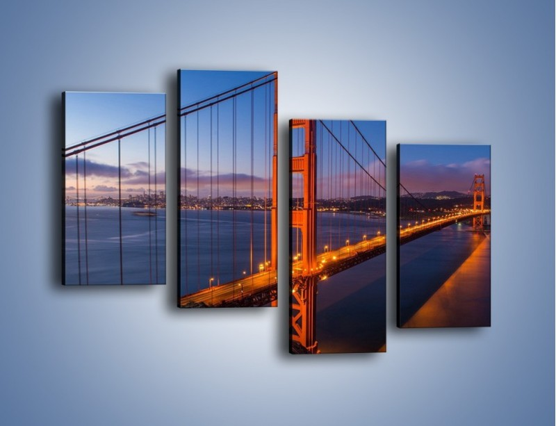 Obraz na płótnie – Rozświetlony most Golden Gate – czteroczęściowy AM360W2