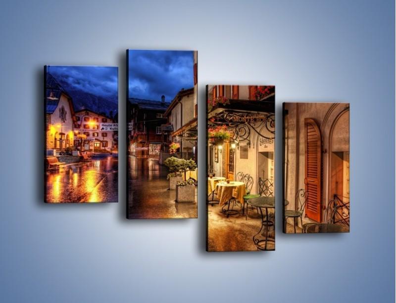 Obraz na płótnie – Romantyczne miasteczko pod Alpami – czteroczęściowy AM368W2