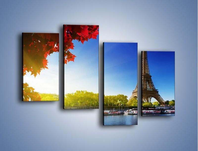 Obraz na płótnie – Wieża Eiffla w piękny dzień – czteroczęściowy AM373W2