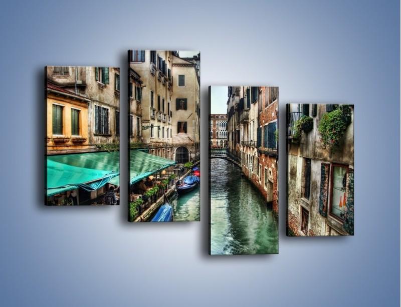 Obraz na płótnie – Wenecka uliczka w kolorach HDR – czteroczęściowy AM374W2