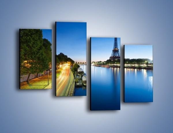 Obraz na płótnie – Zapadający zmrok w Paryżu – czteroczęściowy AM385W2