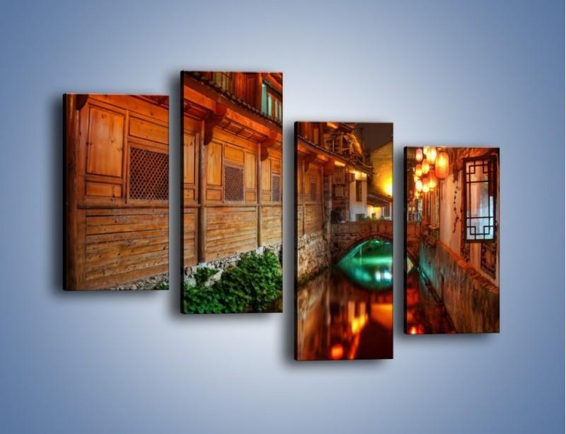 Obraz na płótnie – Kanał w chińskim mieście Lijiang – czteroczęściowy AM391W2