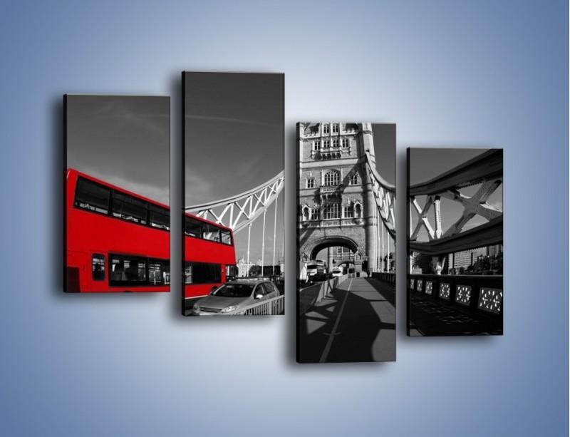 Obraz na płótnie – Tower Bridge i czerwony autobus – czteroczęściowy AM394W2