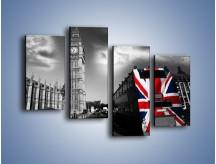 Obraz na płótnie – Big Ben i autobus z flagą UK – czteroczęściowy AM396W2