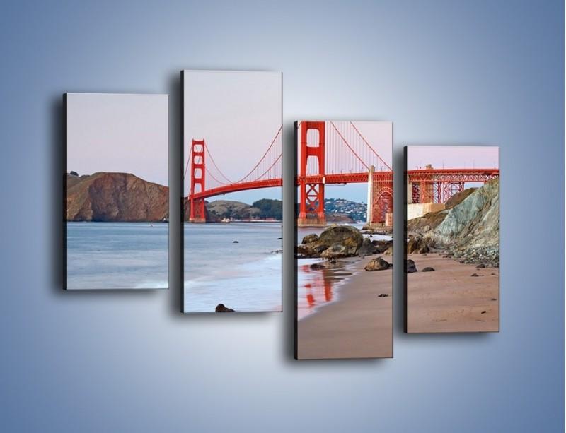 Obraz na płótnie – Most Golden Gate – czteroczęściowy AM406W2