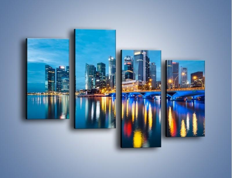 Obraz na płótnie – Kolorowe światła Singapuru – czteroczęściowy AM408W2