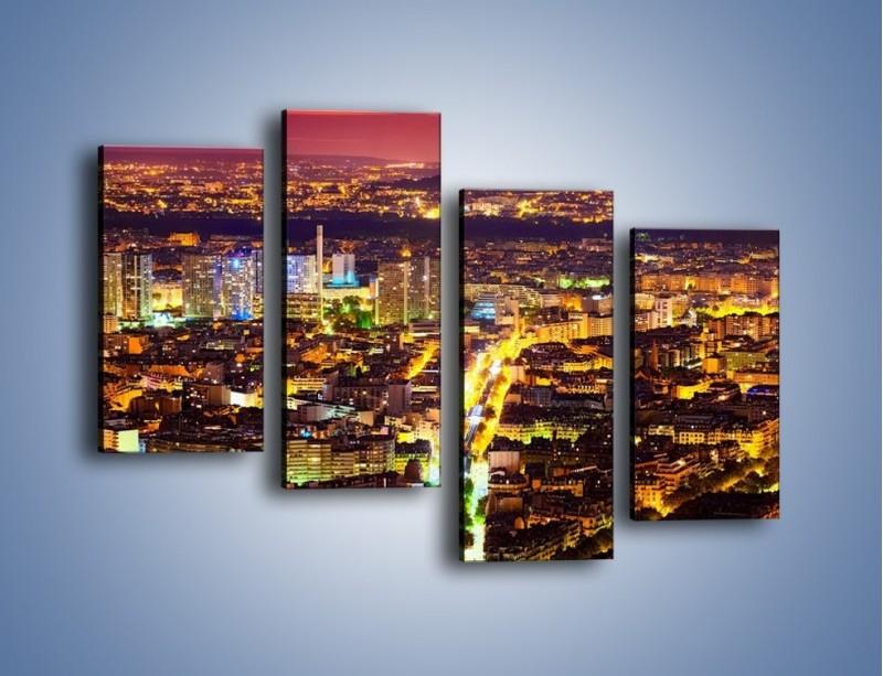 Obraz na płótnie – Kolory Paryża nocą – czteroczęściowy AM419W2