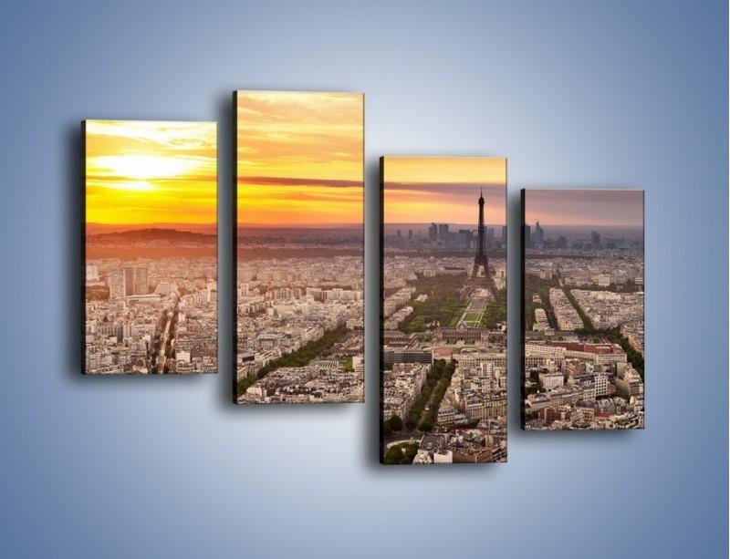Obraz na płótnie – Zachód słońca nad Paryżem – czteroczęściowy AM420W2