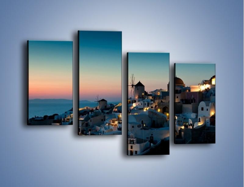 Obraz na płótnie – Domki na Santorini po zmierzchu – czteroczęściowy AM421W2