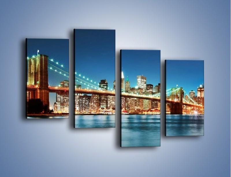 Obraz na płótnie – Most Brookliński na tle Nowego Jorku – czteroczęściowy AM428W2