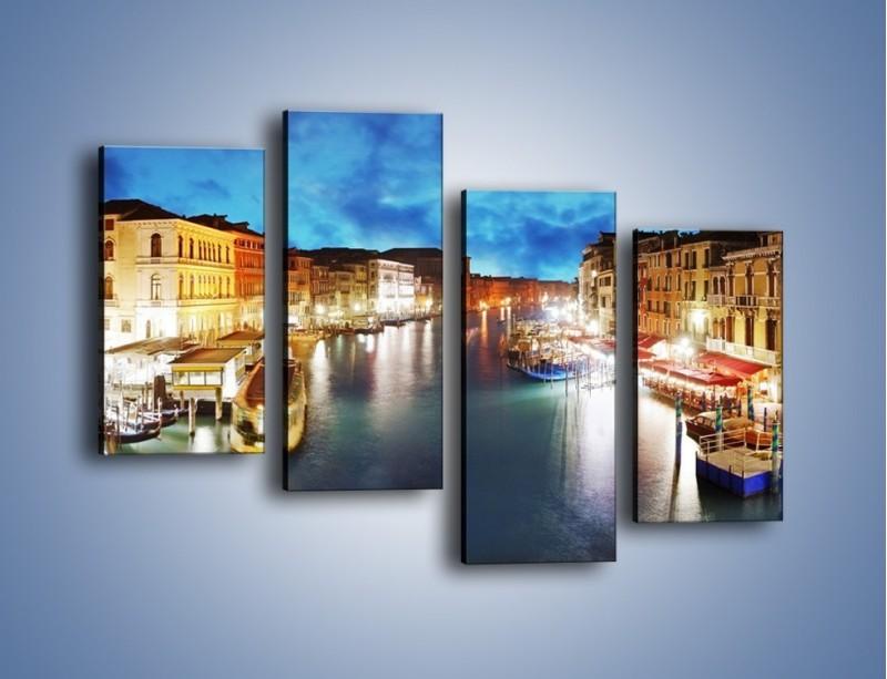 Obraz na płótnie – Światła Wenecji po zmroku – czteroczęściowy AM430W2