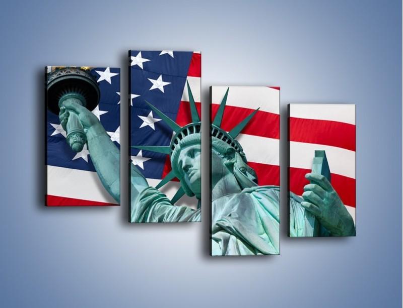 Obraz na płótnie – Statua Wolności na tle flagi USA – czteroczęściowy AM435W2