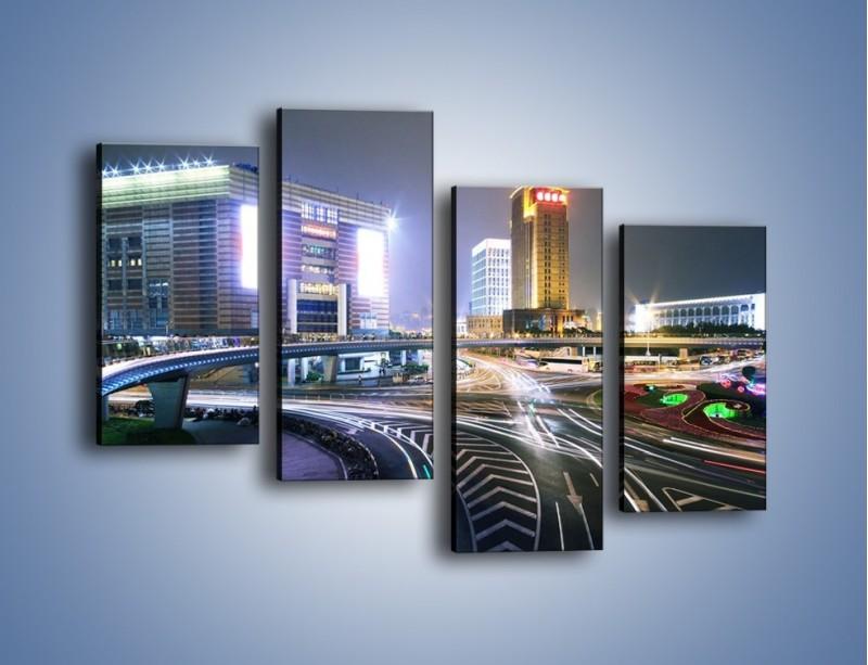 Obraz na płótnie – Oświetlone skrzyżowanie ulic w Szanghaju – czteroczęściowy AM446W2