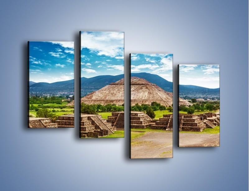 Obraz na płótnie – Piramida Słońca w Meksyku – czteroczęściowy AM450W2