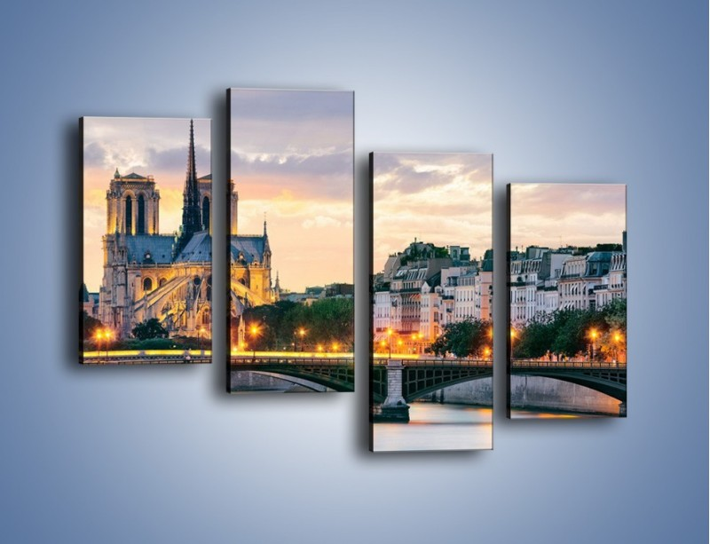Obraz na płótnie – Katedra Notre Dame – czteroczęściowy AM454W2