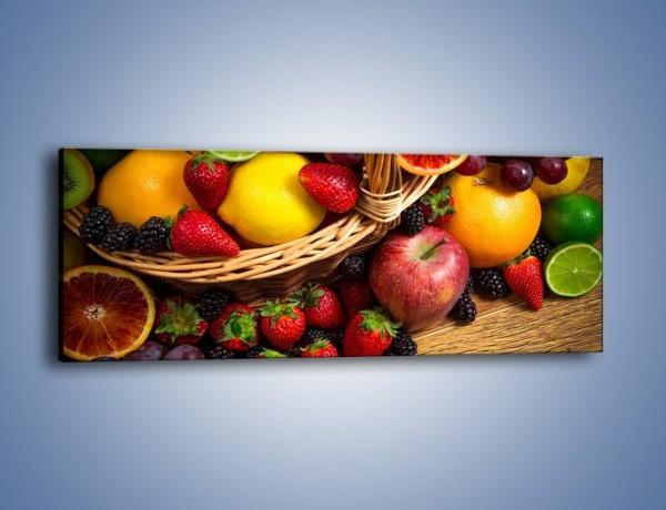 Obraz na płótnie – Kosz zatopiony w owocach – jednoczęściowy panoramiczny JN635