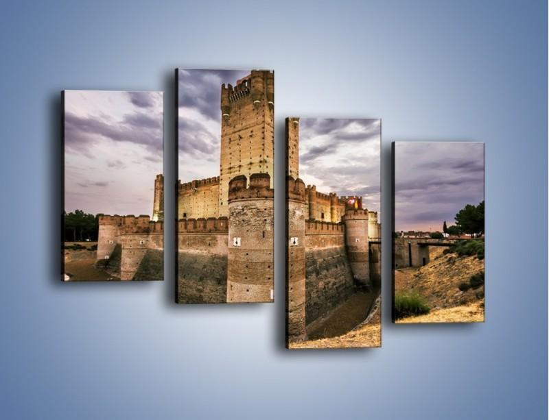 Obraz na płótnie – Zamek La Mota w Hiszpanii – czteroczęściowy AM457W2
