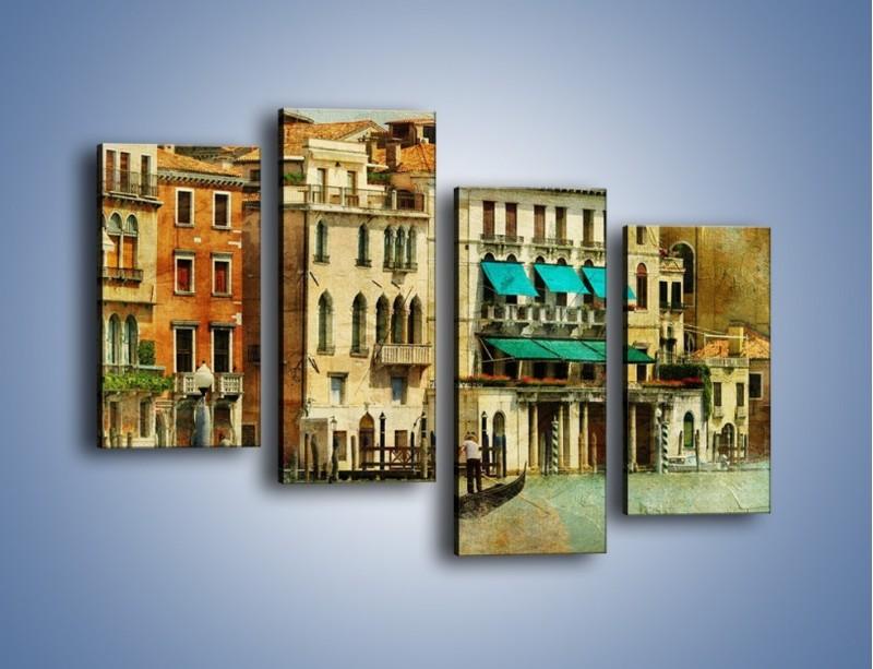 Obraz na płótnie – Weneckie domy w stylu vintage – czteroczęściowy AM459W2