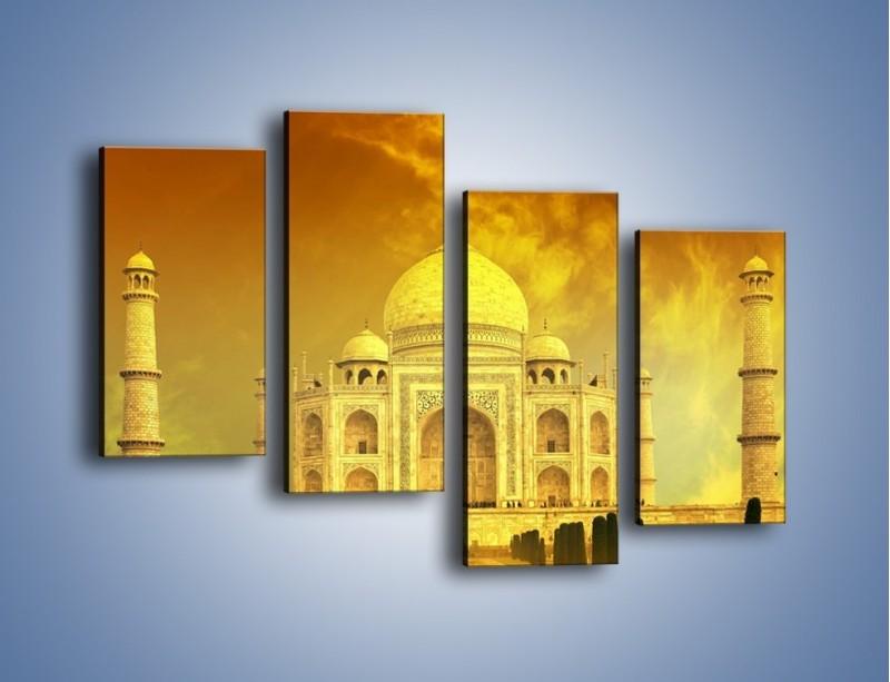 Obraz na płótnie – Tadź Mahal w żółtym kolorze – czteroczęściowy AM465W2