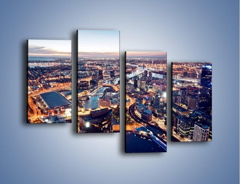 Obraz na płótnie – Panorama Melbourne po zmierzchu – czteroczęściowy AM470W2