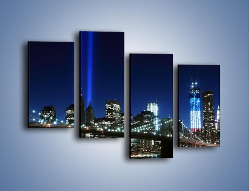 Obraz na płótnie – Most Brookliński nocą – czteroczęściowy AM476W2