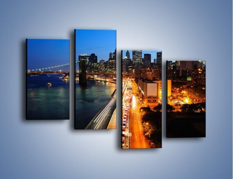 Obraz na płótnie – Manhattan wieczorową porą – czteroczęściowy AM477W2