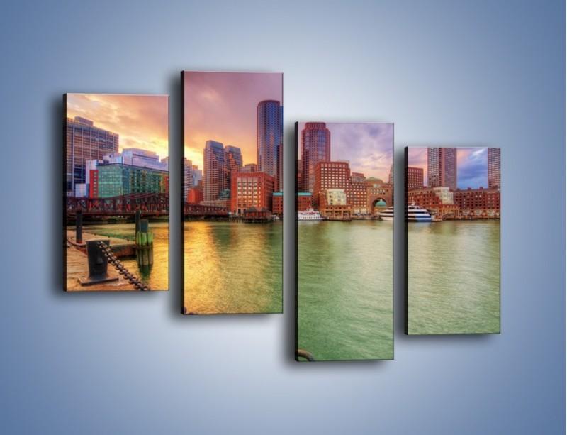 Obraz na płótnie – Widok na centrum Bostonu – czteroczęściowy AM486W2