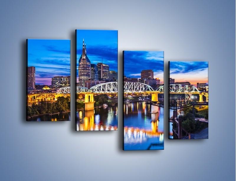 Obraz na płótnie – Most Shelby Street w Nashville – czteroczęściowy AM489W2