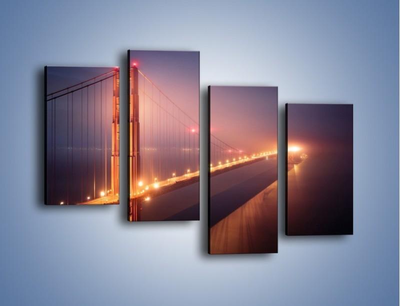 Obraz na płótnie – Most Golden Gate w nocnej mgle – czteroczęściowy AM490W2