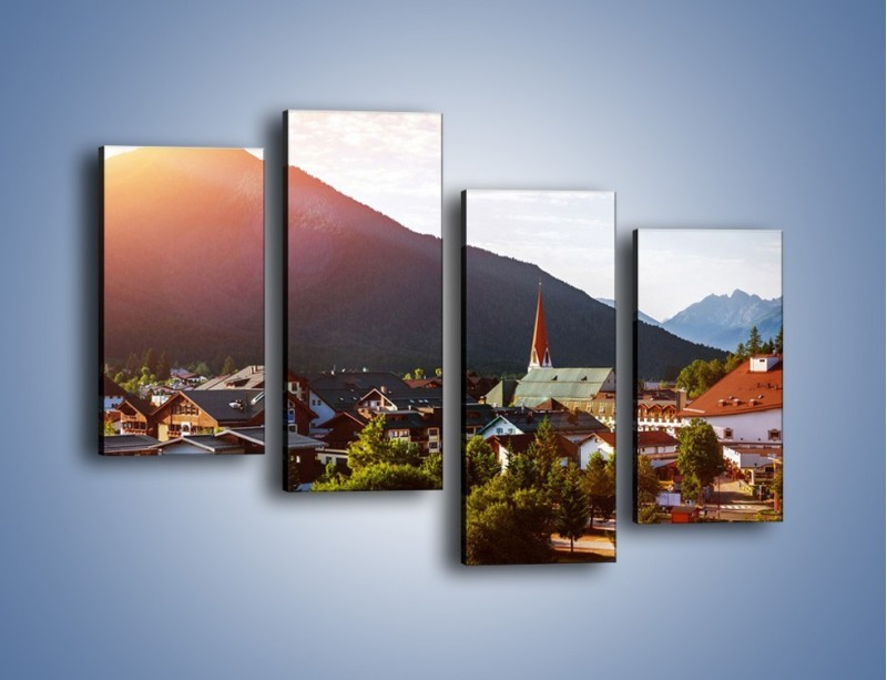 Obraz na płótnie – Austryjackie miasteczko u podnóży gór – czteroczęściowy AM496W2
