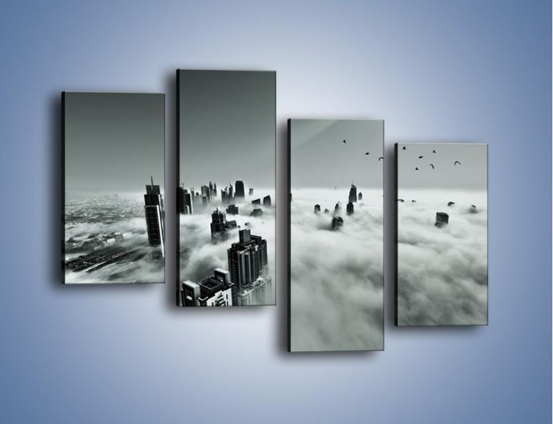 Obraz na płótnie – Centrum Dubaju we mgle – czteroczęściowy AM502W2