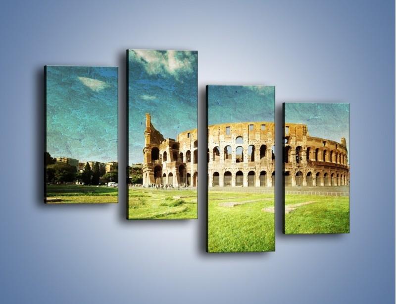 Obraz na płótnie – Koloseum w stylu vintage – czteroczęściowy AM503W2