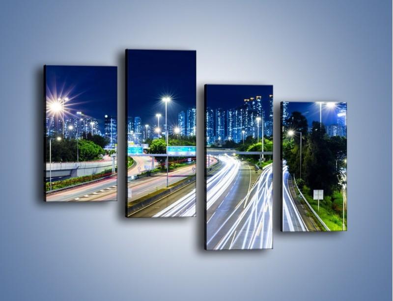 Obraz na płótnie – Autostrada prowadząca do Hong Kongu – czteroczęściowy AM504W2