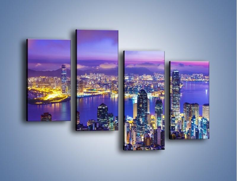 Obraz na płótnie – Wieczorna panorama Hong Kongu – czteroczęściowy AM505W2