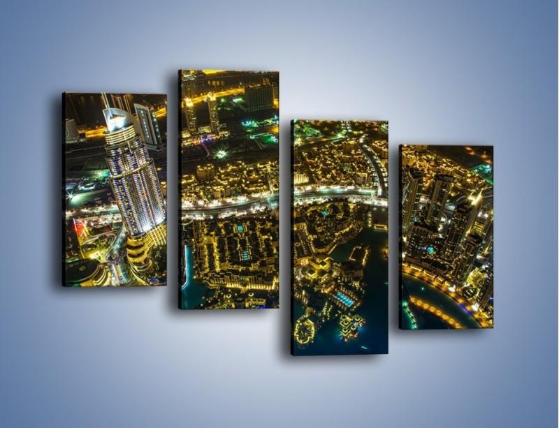 Obraz na płótnie – Dubaj nocą z lotu ptaka – czteroczęściowy AM507W2