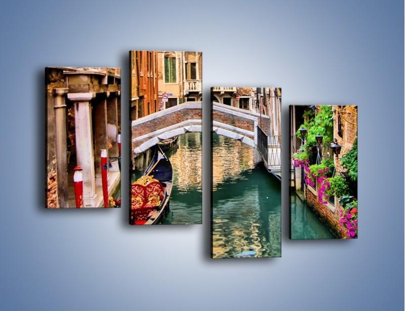 Obraz na płótnie – Wenecka wodna uliczka – czteroczęściowy AM508W2
