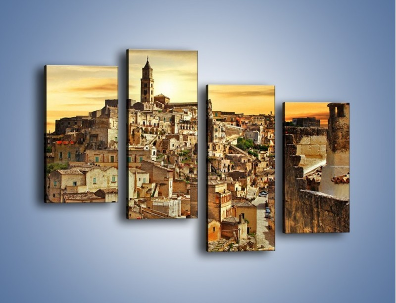 Obraz na płótnie – Matera – miasto wykute w skale – czteroczęściowy AM517W2