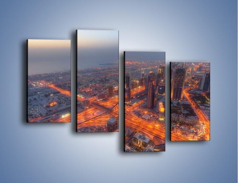 Obraz na płótnie – Panorama Dubaju o poranku – czteroczęściowy AM538W2