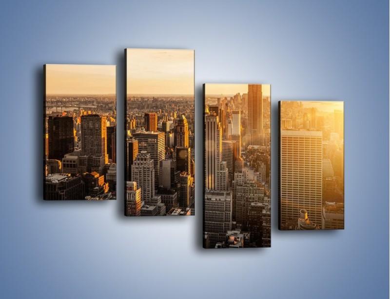 Obraz na płótnie – Zachód słońca nad Nowym Jorkiem – czteroczęściowy AM550W2