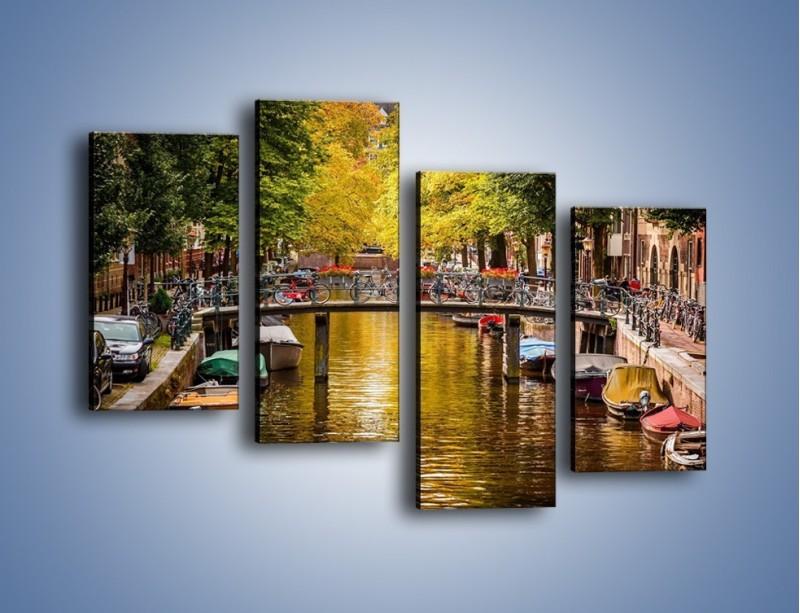 Obraz na płótnie – Most nad amsterdamskim kanałem – czteroczęściowy AM552W2