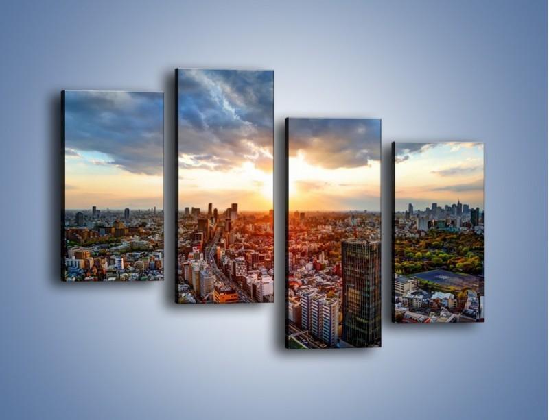 Obraz na płótnie – Panorama miasta o zachodzie słońca – czteroczęściowy AM587W2