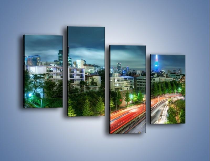 Obraz na płótnie – Miasto Roppongi w Japonii – czteroczęściowy AM593W2