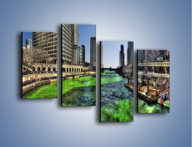 Obraz na płótnie – Chicago River w Dzień św. Patryka – czteroczęściowy AM605W2