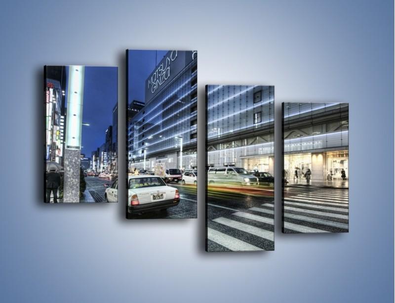 Obraz na płótnie – Ulica Tokyo w deszczu – czteroczęściowy AM613W2