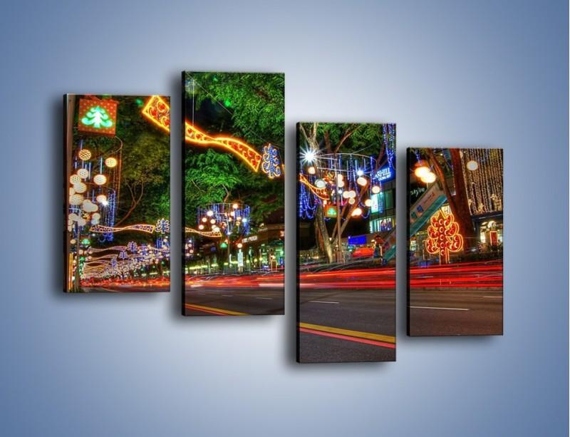 Obraz na płótnie – Noworoczne dekoracje w Singapurze – czteroczęściowy AM616W2